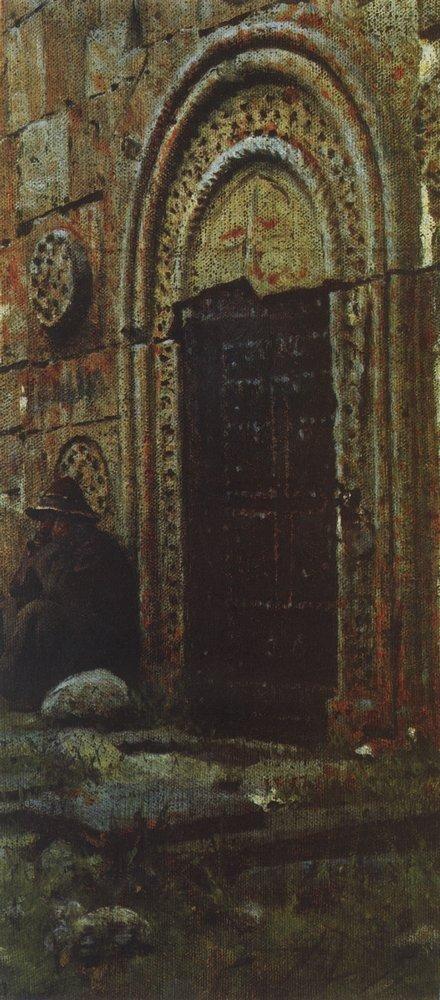 Входная дверь в церковь под Казбеком