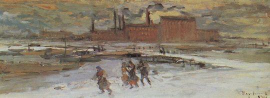 Пейзаж с фабричными строениями. Москва