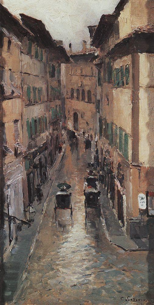 Улица во Флоренции в дождь