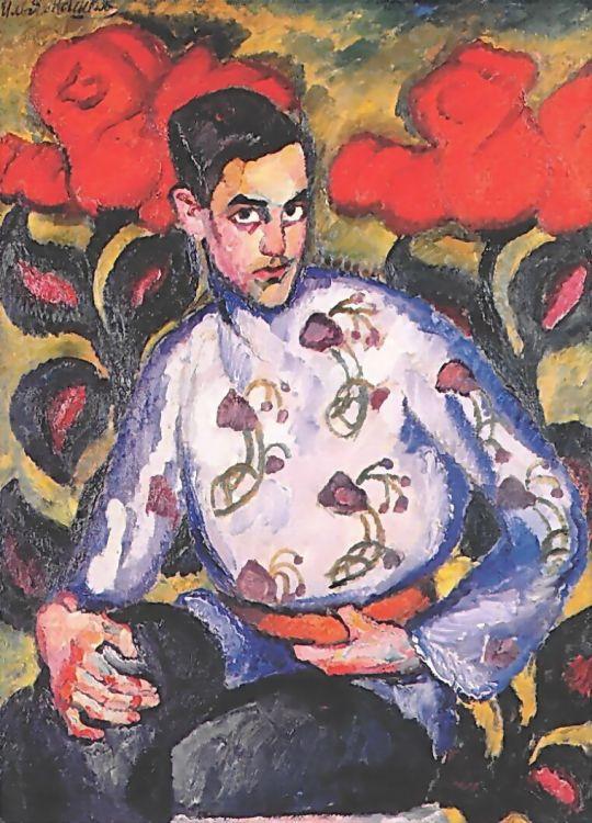 1909 Портрет мальчика в расписной рубашке. Х., м. 119.5х80 ГРМ