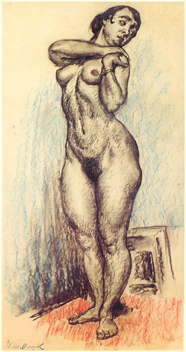 1910-е Стоящая натурщица, положившая руки на левое плечо. Рис.
