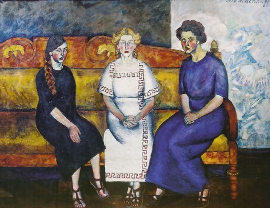 1911 Три сестры на диване. Портрет Н.,Л. и Е.Самойловых. Омск