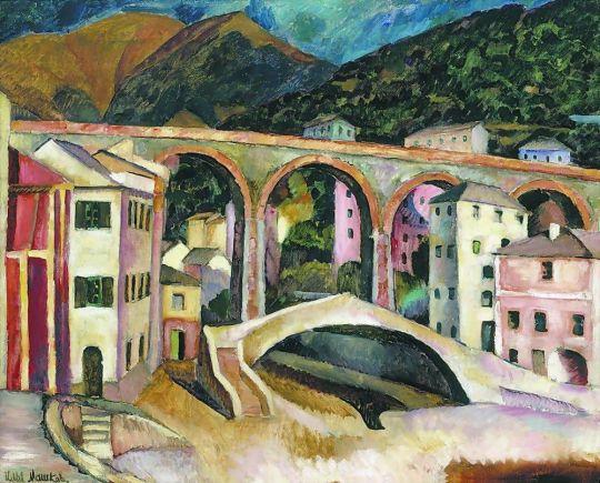 1913 Италия. Нерви. Пейзаж с акведуком. Х., м. 80x97.5 ГТГ