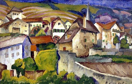 1914 Город в Швейцарии. Х., м. 75.5х115.5 Н.Новгород
