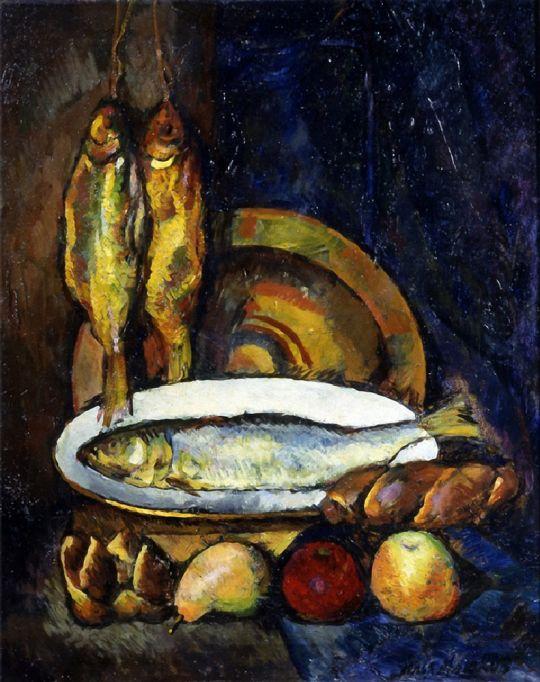 1916 Натюрморт с рыбами. Х., м. Н.Новгород