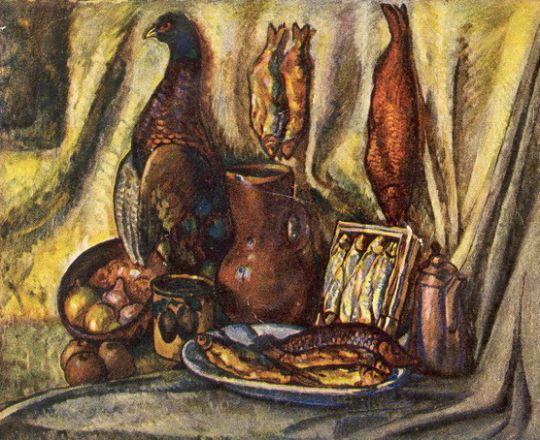 1917 Натюрморт с глухарем и рыбами. Х., м. Абрамцево