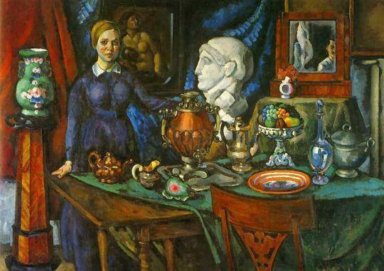 1918 (q) Натюрморт с женской фигурой. Х., м., 182x260. Саратов