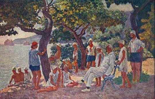 1926-29 Сентябрьское утро в Артеке (Соловьев и артековцы)