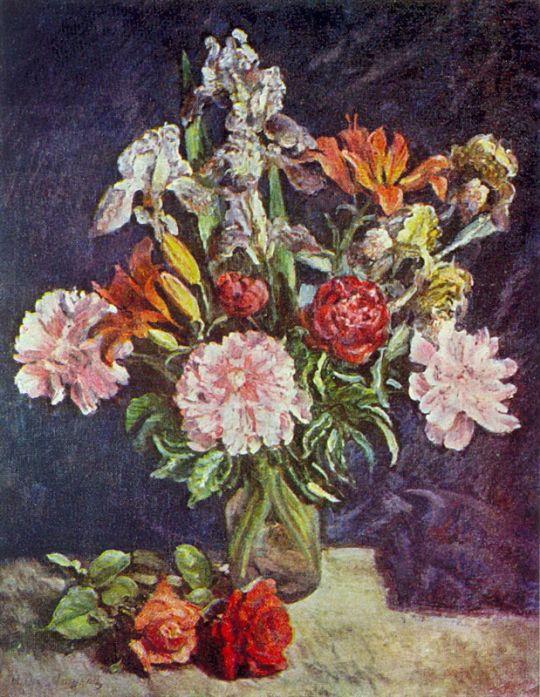 1942 Букет цветов. Пионы, ирисы, лилии. ЧС, М.