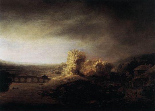 Пейзаж с длинным арочным мостом
