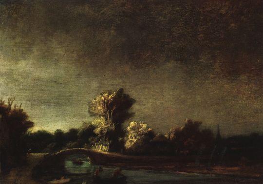 Пейзаж с каменным постом