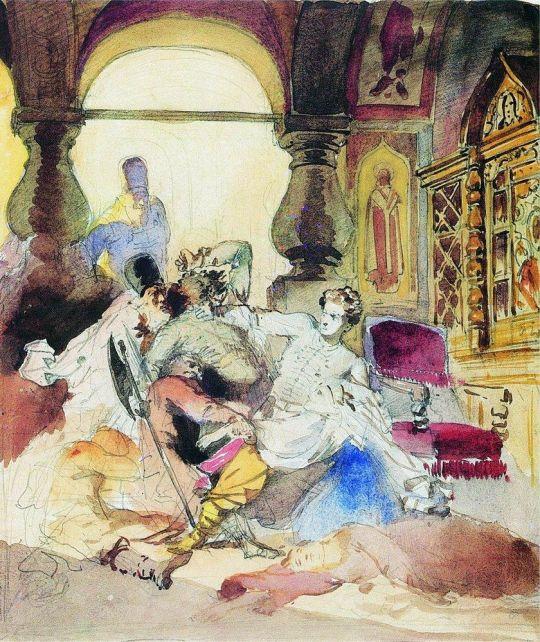 Агенты Дмитрия Самозванца убивают сына Бориса Годунова1. 1862