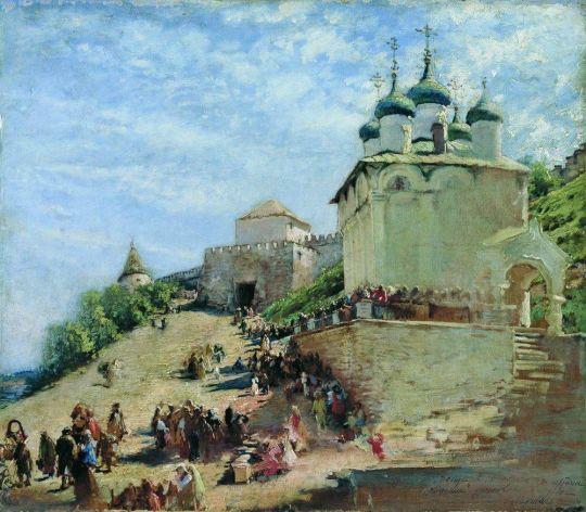 На площади у Ивановского съезда Нижегородского Кремля. 1890-е