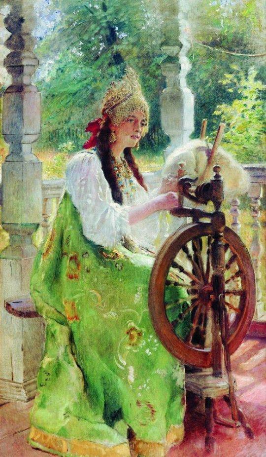 За прялкой (Портрет дочери Ольги). Конец 1890-х
