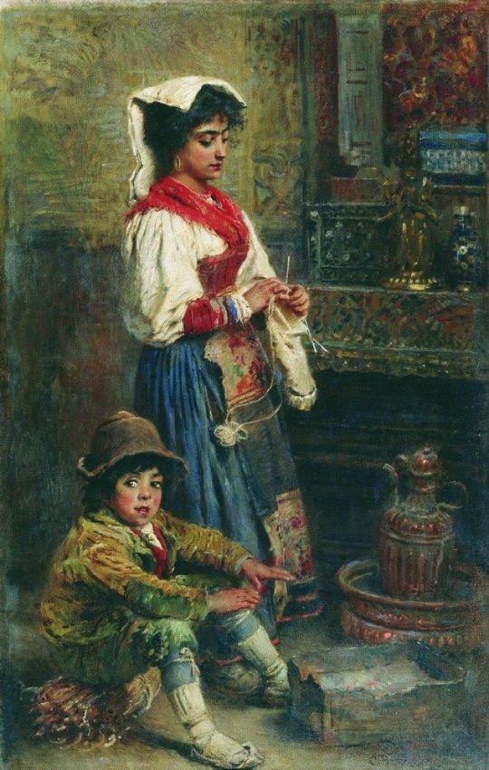 Модели в ожидании художника (Греющиеся итальянцы). 1904