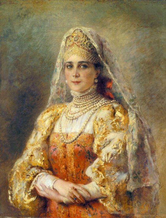 Портрет княгини Зинаиды Николаевны Юсуповой в русском костюме. 1900-е
