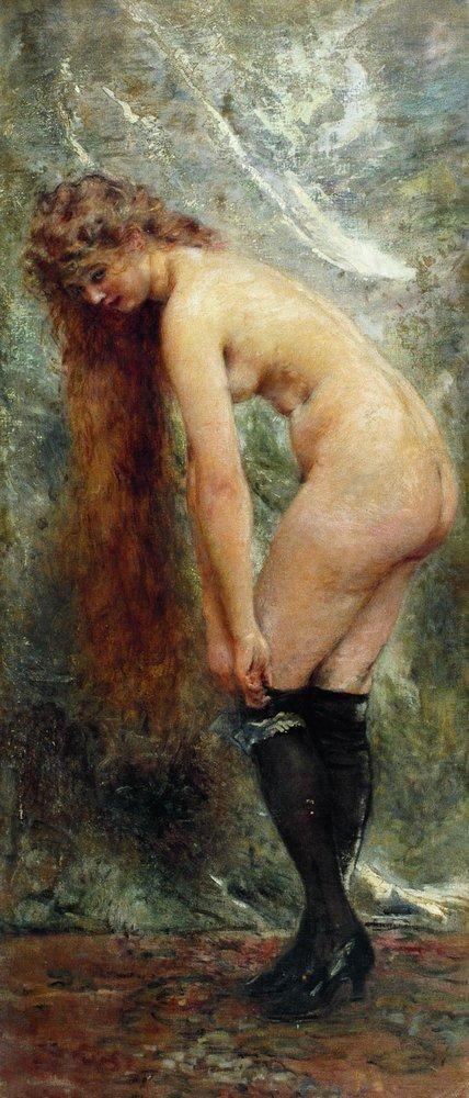 Обнаженная в черных чулках. 1890-1900-е