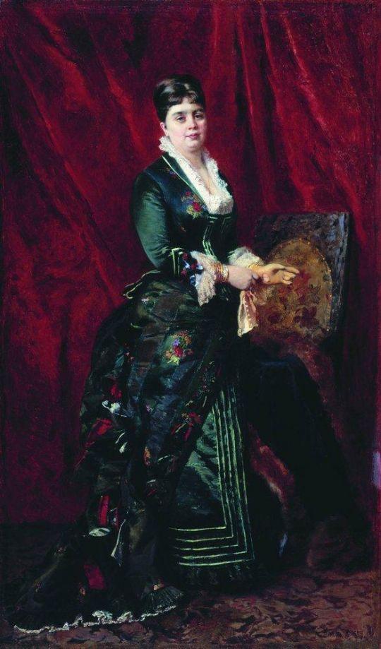 Портрет молодой женщины в зеленом платье. 1879
