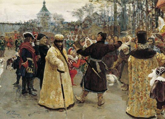 Приезд царей Иоанна и Петра Алексеевичей на Семеновский потешный двор в сопровождении свиты. 1900