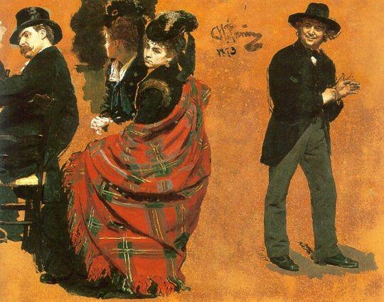 Мужчина и женщина за столиком. Мужчина, натягивающий перчатку. 1873