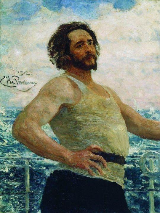 Портрет писателя Л.Н.Андреева на яхте. 1912