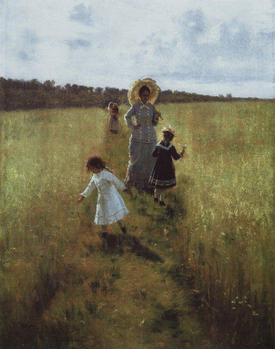 На меже. В.А.Репина с детьми идет по меже. 1879
