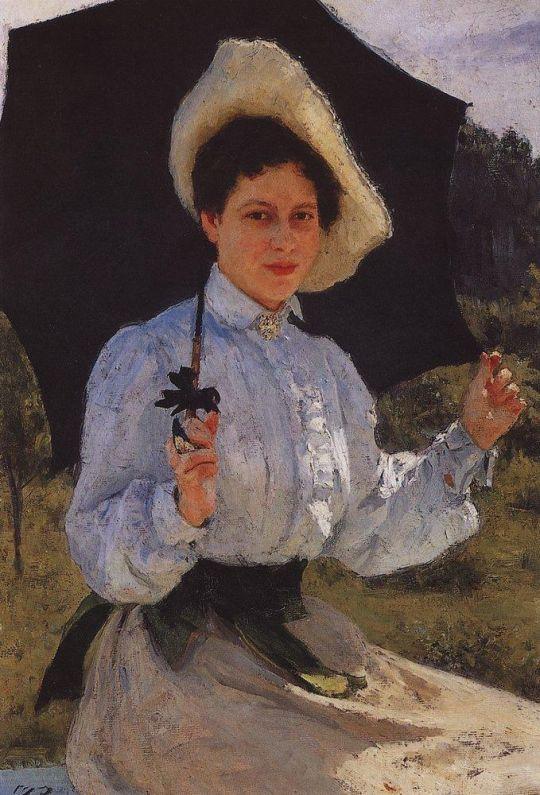 На солнце. Портрет Н.И.Репиной. 1900
