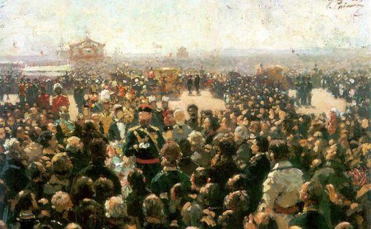 Прием волостных старшин императором Александром III во дворе Петровского дворца в Москве. 1885