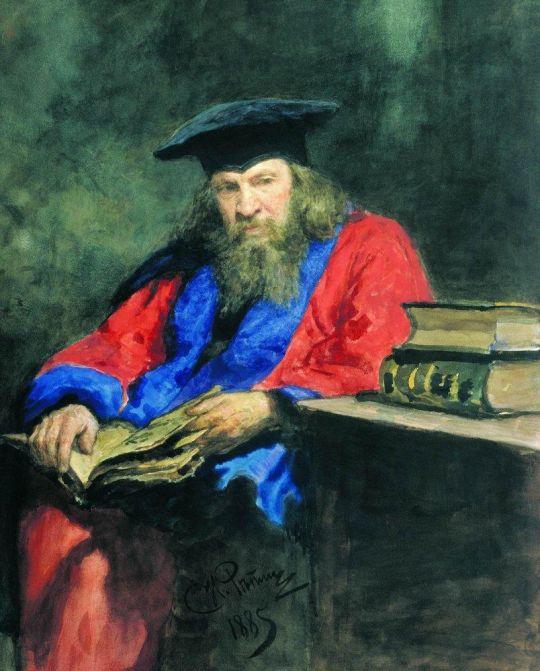 Портрет Д.И.Менделеева в мантии профессора Эдинбургского университета. 1885