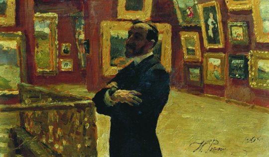 Н.А.Мудрогель в позе П.М.Третьякова в залах галереи. 1904