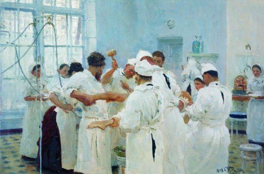 Хирург Е.В.Павлов в операционном зале. 1888