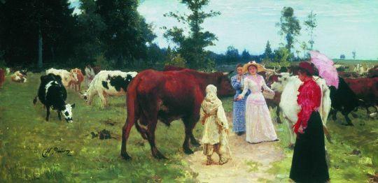 Барышни среди стада коров