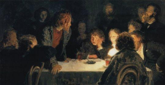Сходка ( При свете лампы ). 1883