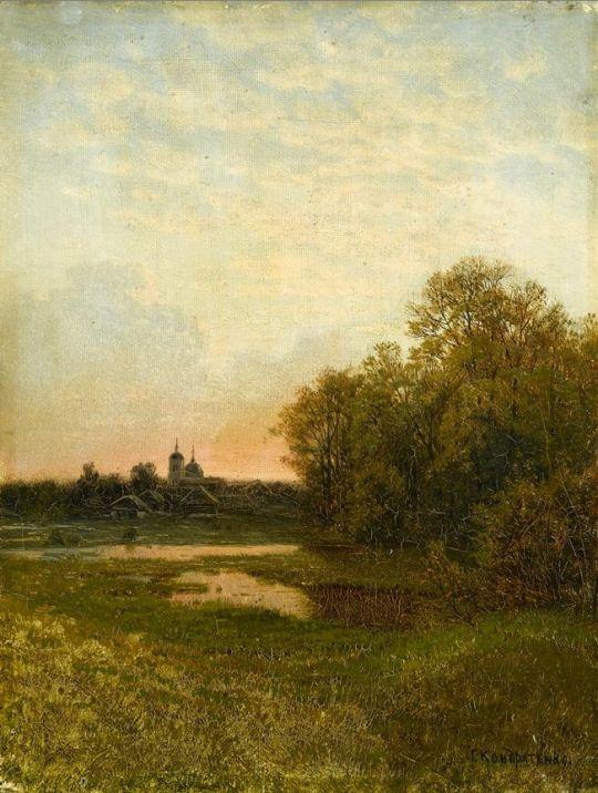 Сумеречный пейзаж. 28 x 21.25