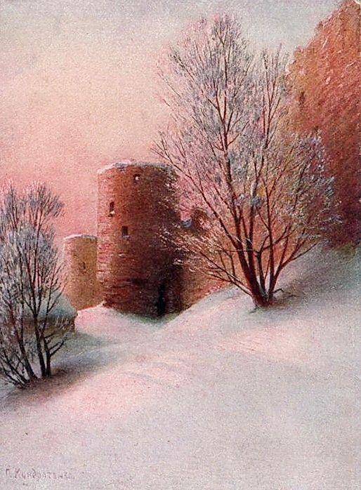 Крепость Копорье зимой. Открытка