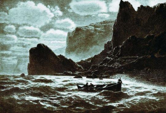 При лунном свете. 1895 Гравюра М.Рашевского из журнала 'Нива', 1895