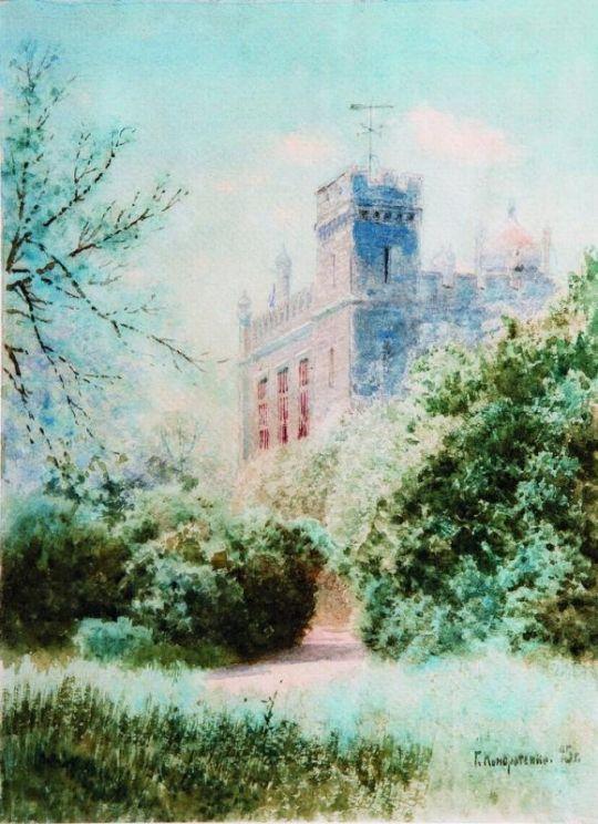 Дворец в Крыму. 1895 Бумага, акварель ЧС