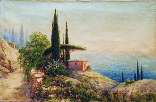 Крымский пейзаж с саклей. 1910-е Холст, масло. 58.5 x 88 ЧС