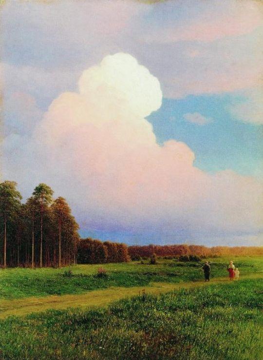 Сельский пейзаж. Картон, масло. 46 x 34 ГРМ