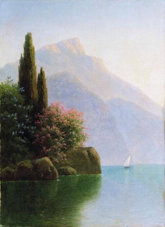 Морской пейзаж. Крымский берег. 1890-е Холст, масло. 67 x 39 ЧС