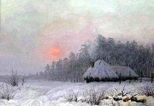 Зимний пейзаж с хутором у леса.