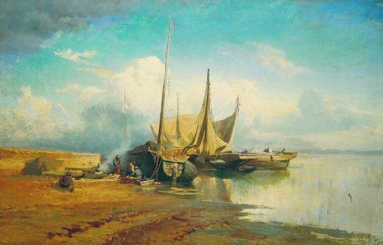 Вид на Волге. Барки. 1870