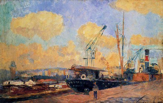 Пароходы и баржи в порту Руана, закат