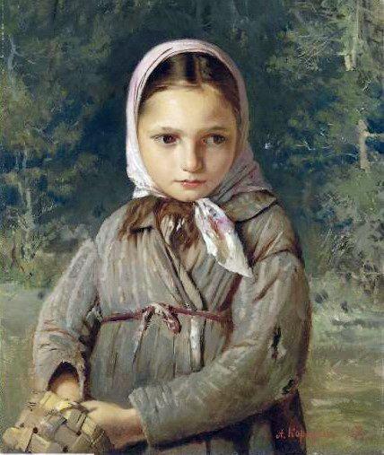Портрет молодой девушки в платке.