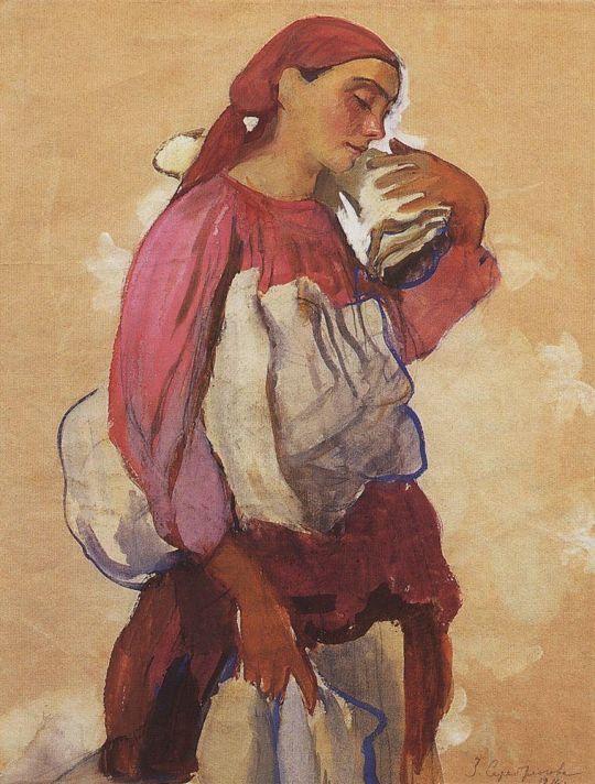 Крестьянка с рулонами холста на плече и в руках.