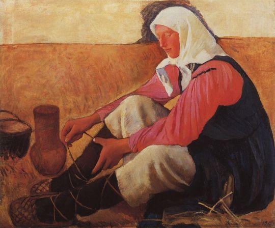 Обувающаяся крестьянка.
