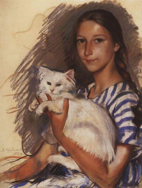 Портрет Наташи Лансере с кошкой.