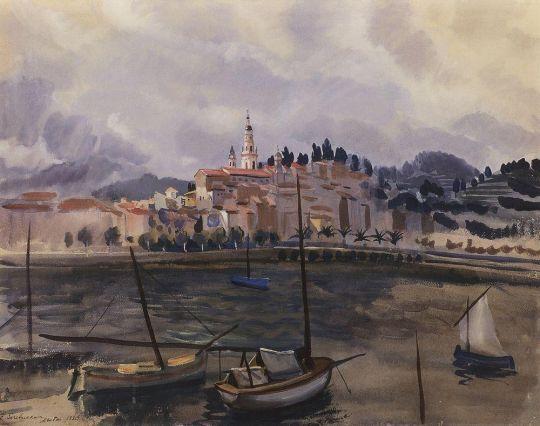 Ментона. Вид с гавани на город.