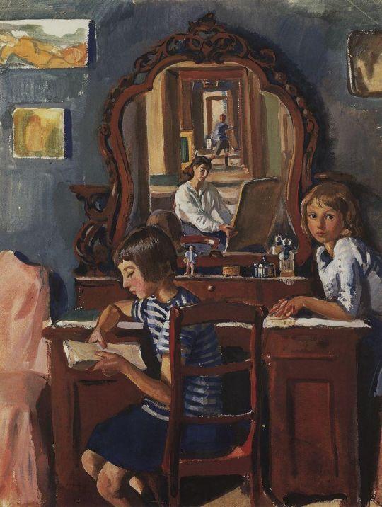 Тата и Катя (У зеркала).