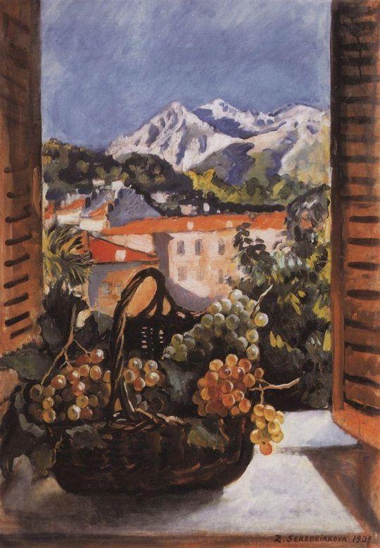 Корзина с виноградом на окне. Ментона.
